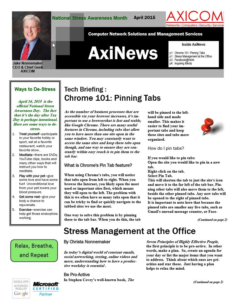Newsletter Archive April 2015