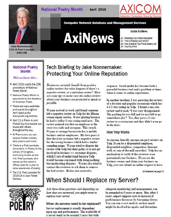 Newsletter Archive April 2016