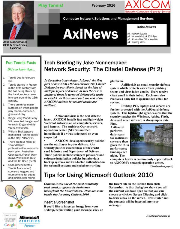 Newsletter Archive February 2016