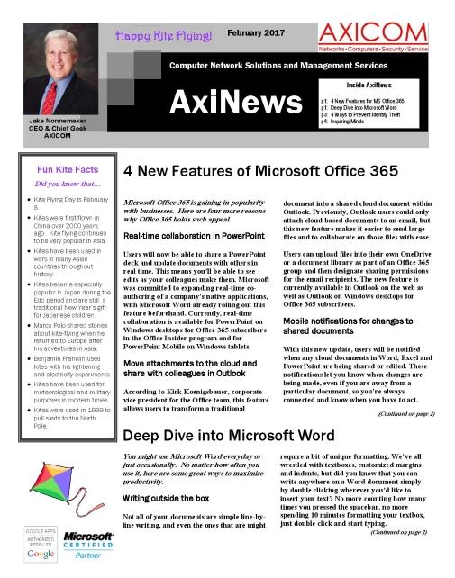 Newsletter Archive February 2017