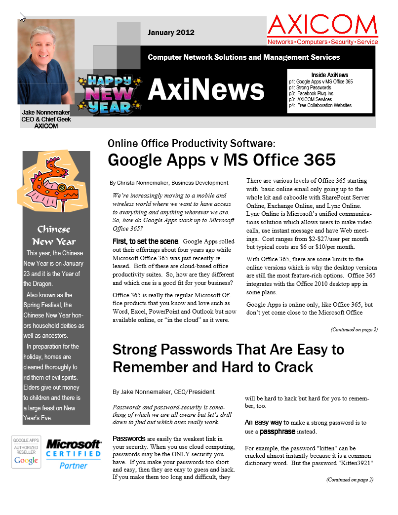 Newsletter Archive January 2012