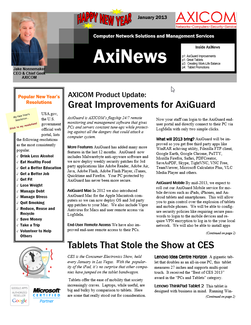 Newsletter Archive January 2013