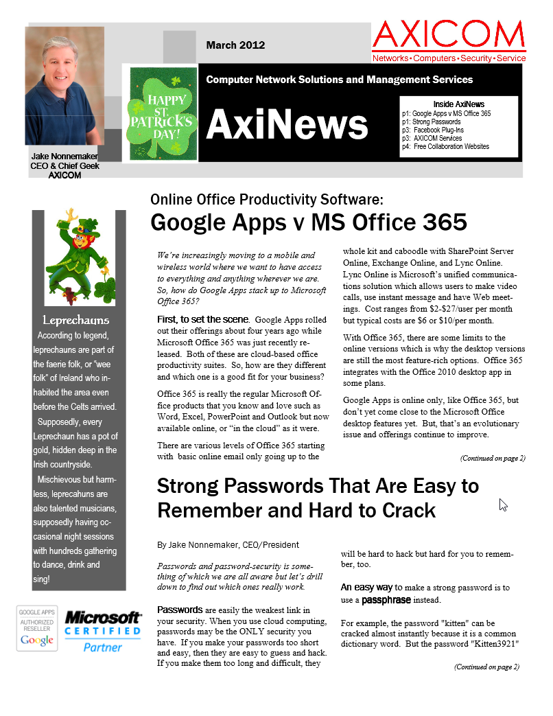 Newsletter Archive March 2012