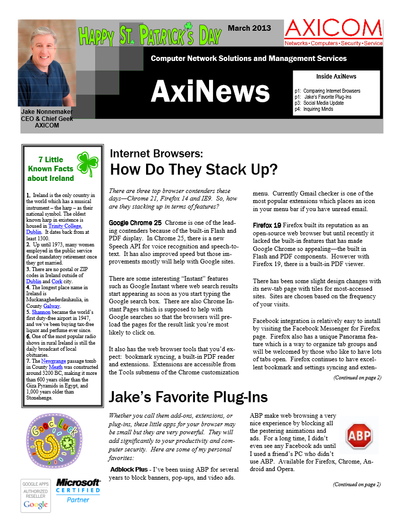Newsletter Archive March 2013