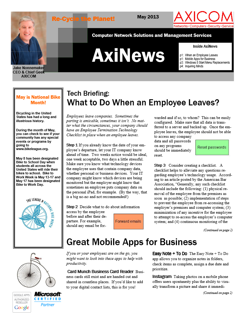 Newsletter Archive May 2013