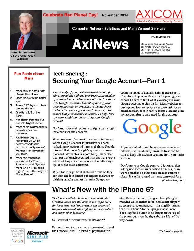 Newsletter Archive November 2014