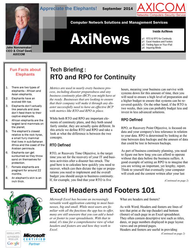 Newsletter Archive September 2014