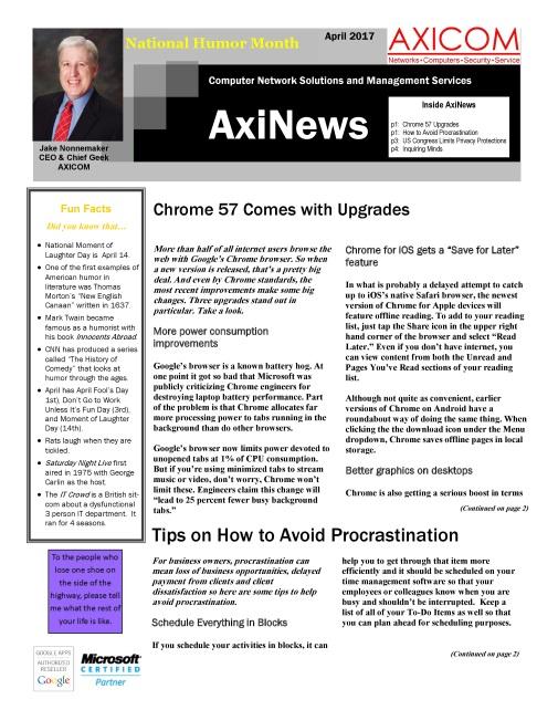 Newsletter Archive April 2017
