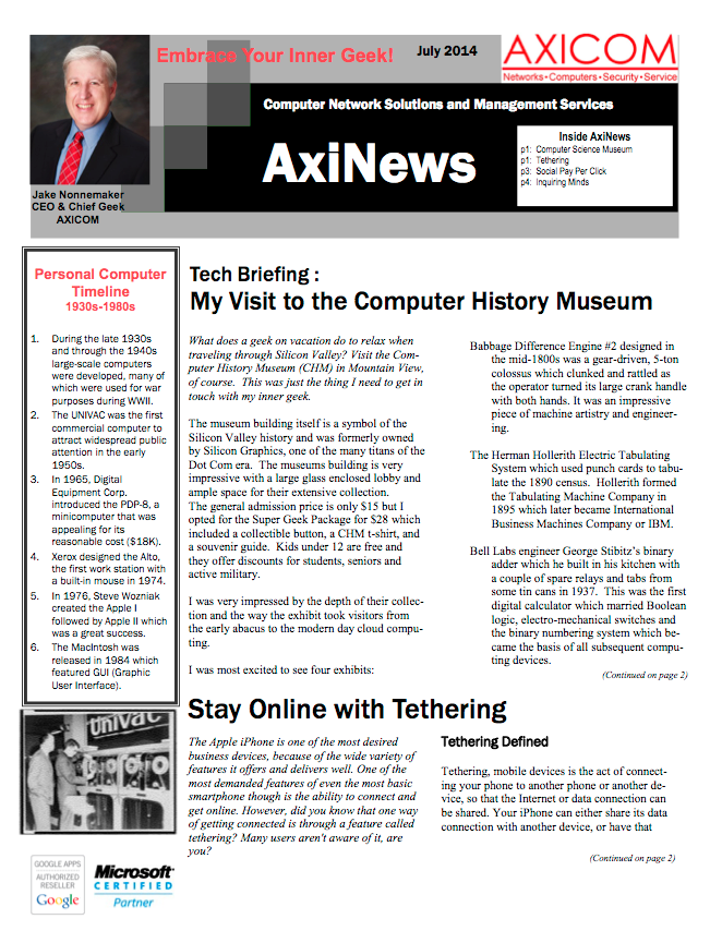 Newsletter Archive July 2014