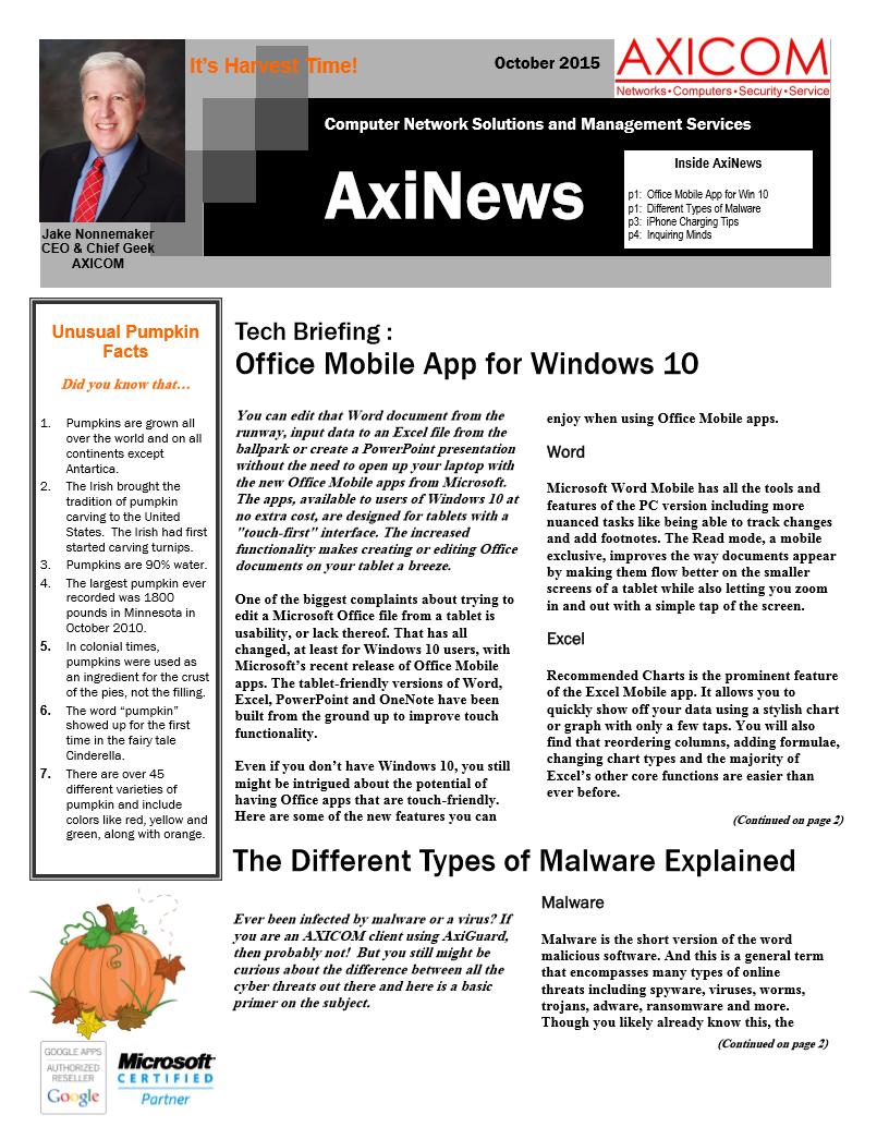 Newsletter Archive October 2015