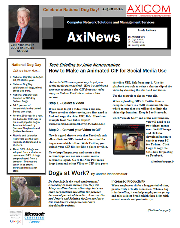 Newsletter Archive August 2016