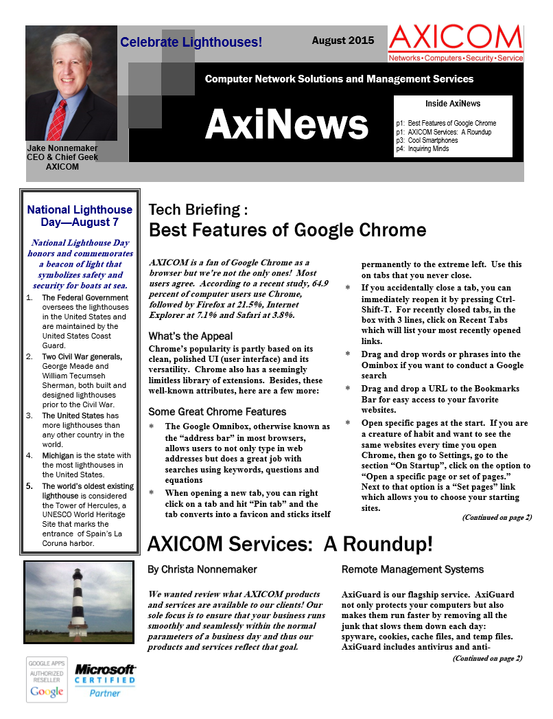Newsletter Archive August 2015