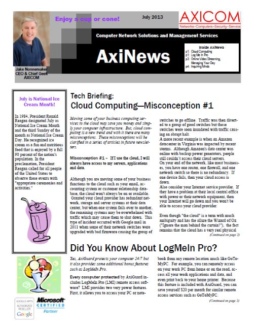 Newsletter Archive July 2013