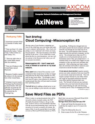 Newsletter Archive November 2013