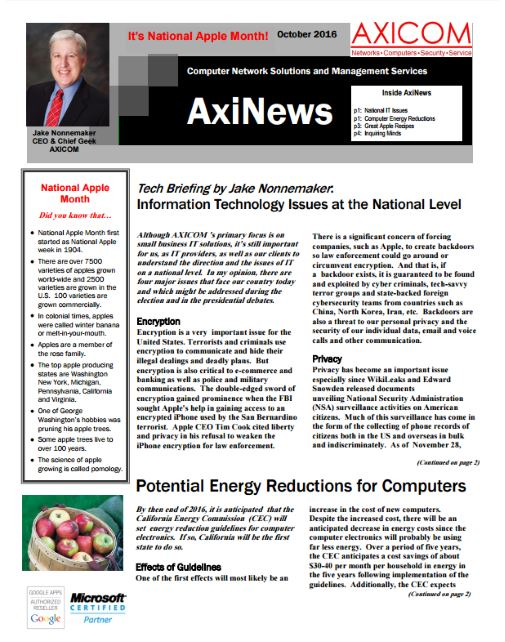 Newsletter Archive October 2016