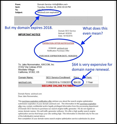 domain name scam - Page 1