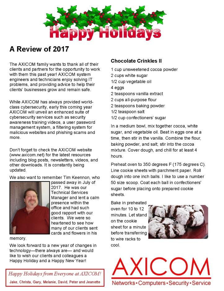 Newsletter Archive December 2017