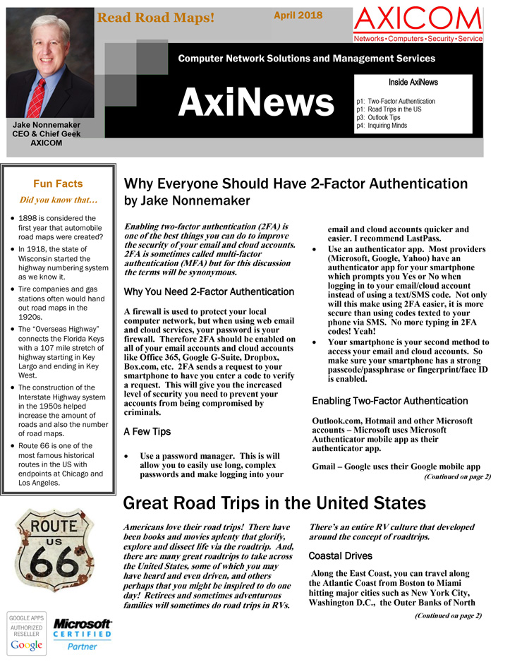 Newsletter Archive April 2018